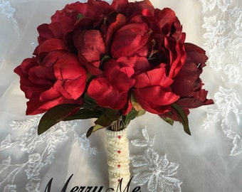 Red Peony Bouquet - Silk Peony Bouquet - Red Bouquet - Red Winter Bouquet - Red Fall Bouquet - Red Bridal Bouquet - High Quality Peonies