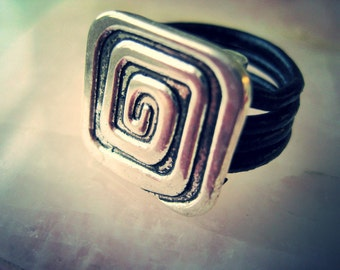 Square Spiral Leather Wrapped Ring