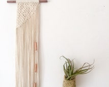 Mini macrame wall hanging, cotton on a stained dark wood dowel. Geometric knot pattern, long wall hanging. Small wall hanging. Gift idea.