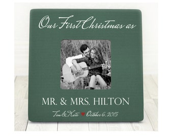 First Christmas Married Gift Personalized Picture Frame for Newlyweds Christmas Gift First Christmas as Mr. and Mrs.