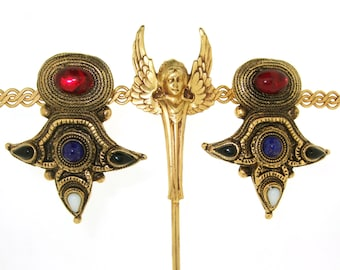 Vintage Claire Deve Earrings Ancient Byzantine style Paris