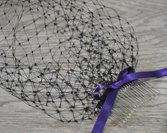 Black Funeral veil - Purple Bow Veil - Birdcage Veil - Mourning Veil -  Black Wedding Veil - Ribbon Veil - Purple Funeral Accessory