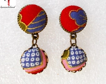 Japanese fabric red and blue earrings
