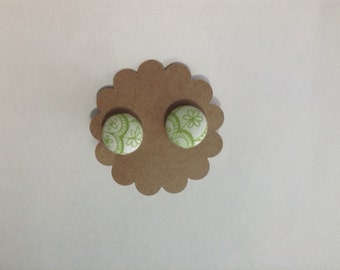 Green Floral Covered Button Earrings