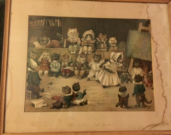 Antique chromolithograph Mrs. Tabitha's Cats' Academy