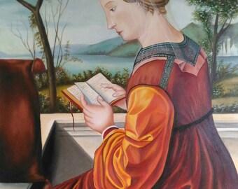 Art reproduction  - oil on canvas - Madonna che legge by Carpaccio