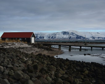 Boathouse  Seltjarnarnes * Iceland * Nautical Scene * Shipyard * Reykjavik * Cloudy Sky * Mountain * Red Roof * Winter Day * Travel Abroad *