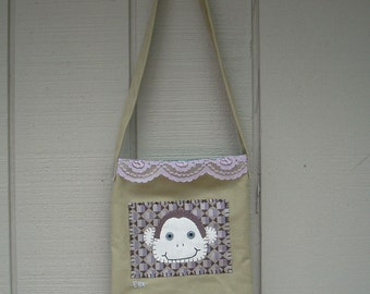 Monkey Head #1 Small Tote Fabric Art