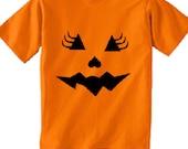 Halloween Jack o Lantern Pumpkin Face kids TShirt.costume girly eyelashes girls