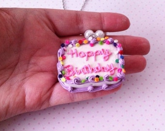 SALE Birthday Cake necklace, polymerclay