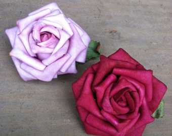 Large Single Rose Hair Clip with Leaf Pink or Red