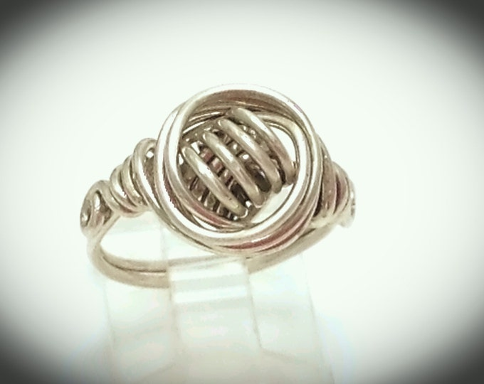 Celtic wire wrapped ring in silver