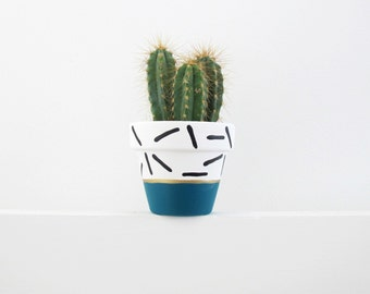 Hand Painted Teal Dash Plant Pot - 6cm