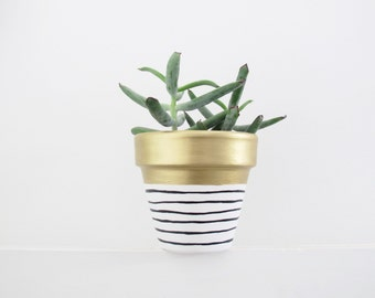 Hand Painted Plant Pot - Gold Stripe
