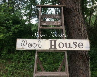 Pool House sign. Pool signs. Pool decor. Distressed signs. Wooden signs. Rustic decor. Pool decorations. Swimming pool signs.