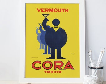 Art Deco Poster Vermouth Print Art Deco Print CORA ITALIAN VERMOUTH 1930s Vermouth Ad High Quality Frame-Ready Ikea Ribba Art Print