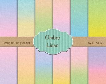"Ombre Digital Paper pack: ""Ombre Linen"" pastel linen texture, pastel digital paper, textured paper, linen background, canvas texture"