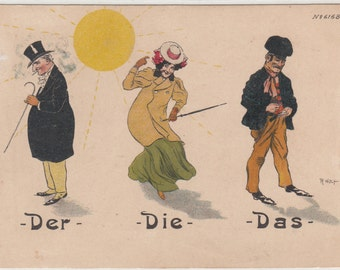 He, She And It Art Nouveau Caricature Postcard Unused,Undivided Pub. By  Bruno Berger & Ottilie Leipzig