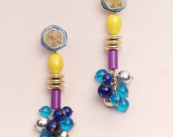 unique colorful one-of-a-kind long charitable clip on earrings