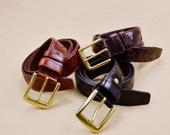 High Quality Genuine Leather Kraft First Layer Leather Knnited By Hand Designer Belts Men Belt