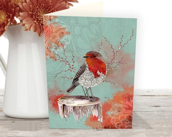 Bird card of a Red Robin. Nature cards from an original bird watercolor