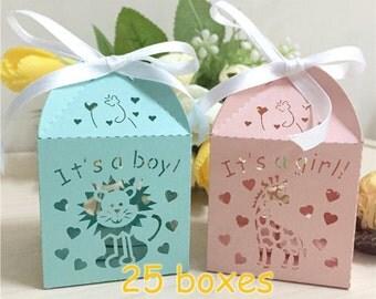 Boy Girl animal Paper box baby shower favor box mini cupcake gift box macaron favor box birthday party decor little gift box