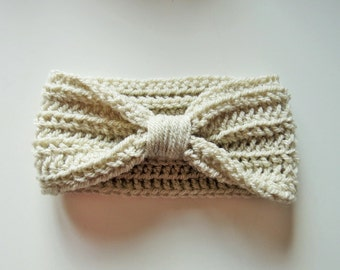 Handmade Crochet Baby Turban Style Headband in Parchment Beige Made to order, Many Colours Available, great photo prop, Baby Gift, Baby Girl