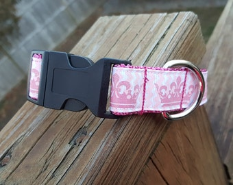 Pink Princess Crowns Dog Collar - Matching Leashes Available
