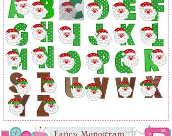 Santa Claus Monograms applique,Christmas Letters applique,Christmas applique,Alphabet,Fonts applique,Letters design,-11