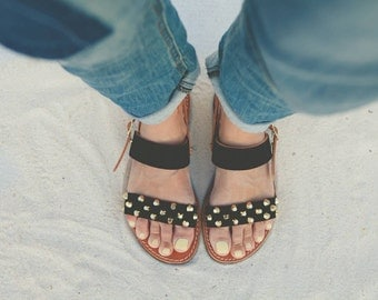 Aelia sandals ,Handmade  black leather sandals,gold studs , two straps