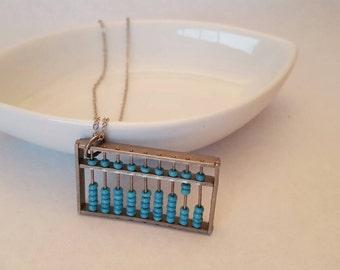 vintage blue abacus necklace