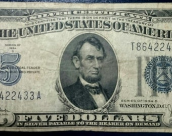 Vintage Antique circulated 1934 D silver certificate Five Dollar Bill blue seal note united states banknote currency 1.00 Ship