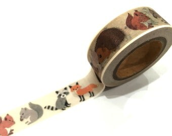 Japanese Washi Tape, Hedgehog Squirrel Fox Racoon Forest Animals, 10METRE