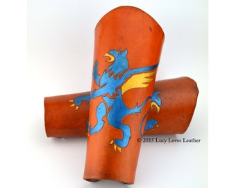 Tan Leather Bracers with Blue and Gold Griffin, LARP armor, Vambrace Set, Leather Armor, Thick Leather Bracers, Fantasy Cosplay
