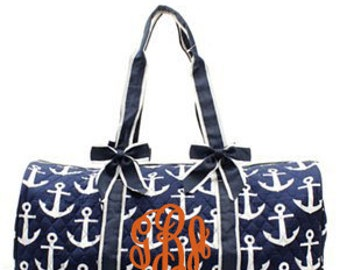 "Personalized Quilted Anchor Print Duffle with Detachable Bows - Large 20"" Navy Duffel with White Anchors - DDT2626-NY"