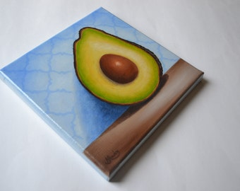 SALE 8x8' avocado painting, still life painting, fruit painting, vegetable painting, small kitchen art, food painting, avocado art