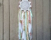 Pastel dream catcher - doily dreamcatcher, peach, mint, kids dream catcher, baby shower gift, wall hanging,  kids room decor, baby nursery