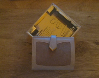"""Vintage Amity Beige Leather Clutch Wallet with Tan Suede Trim """" New with Box """" Free Shipping """""""