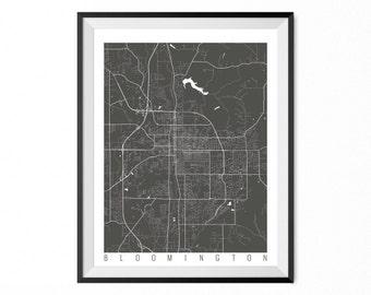 Bloomington Map Art Print / Bloomington City Poster / Bloomington Wall Art / Indiana/ Gift / Indiana home decor