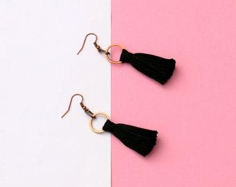 Black Tassel Earrings, Boho Earrings, Tassel Jewelry, Textile Earrings, Festival Earrings, Modern Earrings, Copper Jewelry, Fabric Earrings