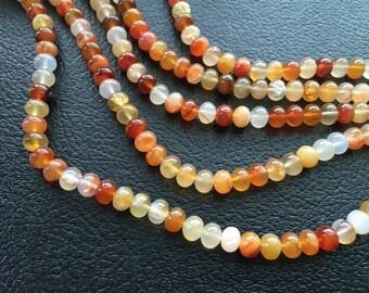 Full Strand Natural Carnelian 10 x 8MM Rondelle Beads