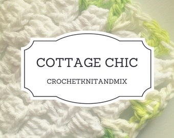 Washcloth, Set of 3 washcloths, White Green Crochet Cottage Chic Vintage style Towels, Bath Kitchen dish cloth Multipurpose towel