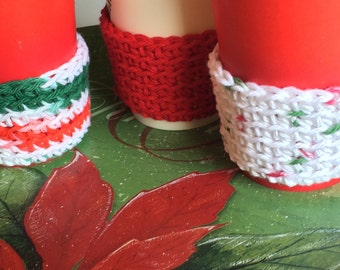 Set of 3 cup sleeve Christmas Candle cover Holiday crochet eco friendly reusable cup sleeves  Includes gift wrapping option bag and gift tag