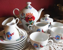 Vintage 1970s German Made GDR Colditz Coffee Tea set red Floral Flower Cup Saucer set of 6