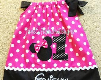 Hot Pink Minnie Mouse Pillowcase Dress - Minnie Mouse Polka dots Pillowcase Dress - Fashion Pillowcase - Big Number Minnie