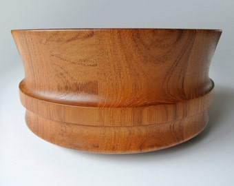 Vintage staved teak bowl. Made by Dane Wood, Denmark. 1960's