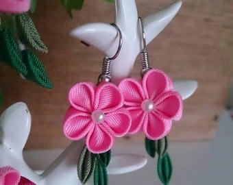 Pink Flower Earrings 8-1