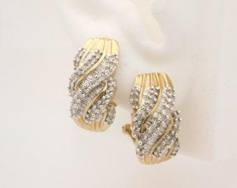1.00 Carat T.W. Round & Baguette Cut Diamond Earrings 10K