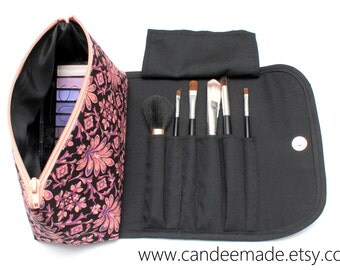 Pretty Pink Patterned Large Makeup Bag with a Brush Holder and Magnetic Button!