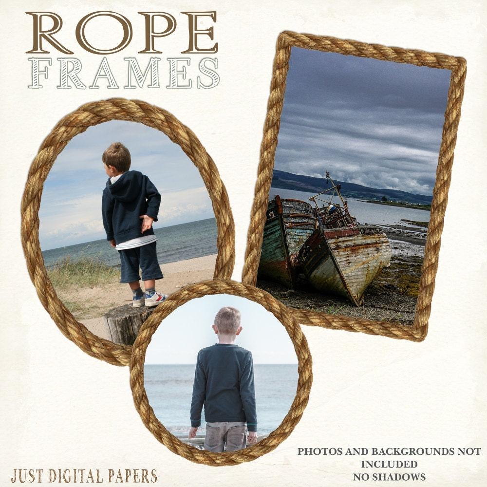 Rope frame digital frames nautical frames scrapbook Rope photo frame